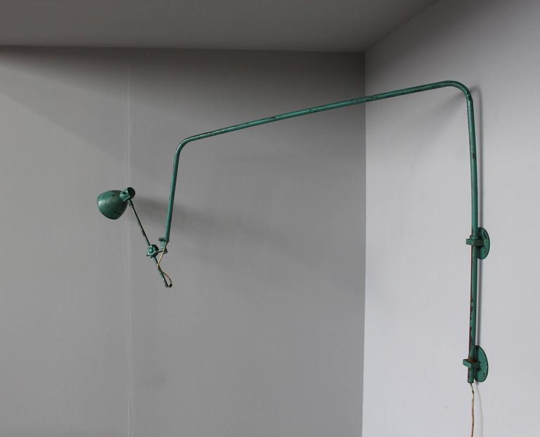 French Industrial Wall Lights : French Adjustable Industrial Green Lacquered Metal Wall Light For Sale at 1stdibs