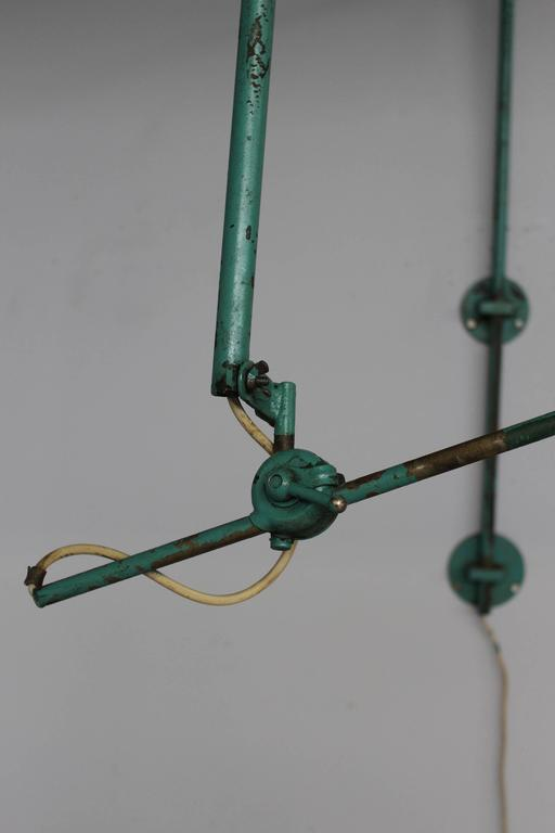 Green Metal Wall Lights : French Adjustable Industrial Green Lacquered Metal Wall Light For Sale at 1stdibs