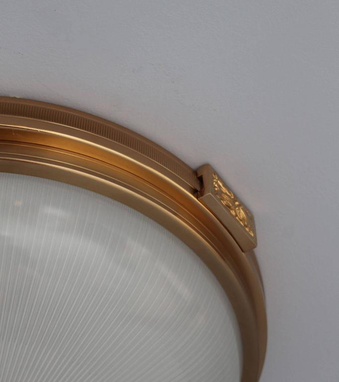 6 Fine French Gilded Brass Flush Mounts with Fluted Glass Shades For Sale 1