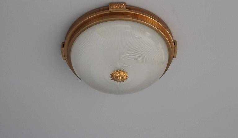 6 Fine French Gilded Brass Flush Mounts with Fluted Glass Shades For Sale 3
