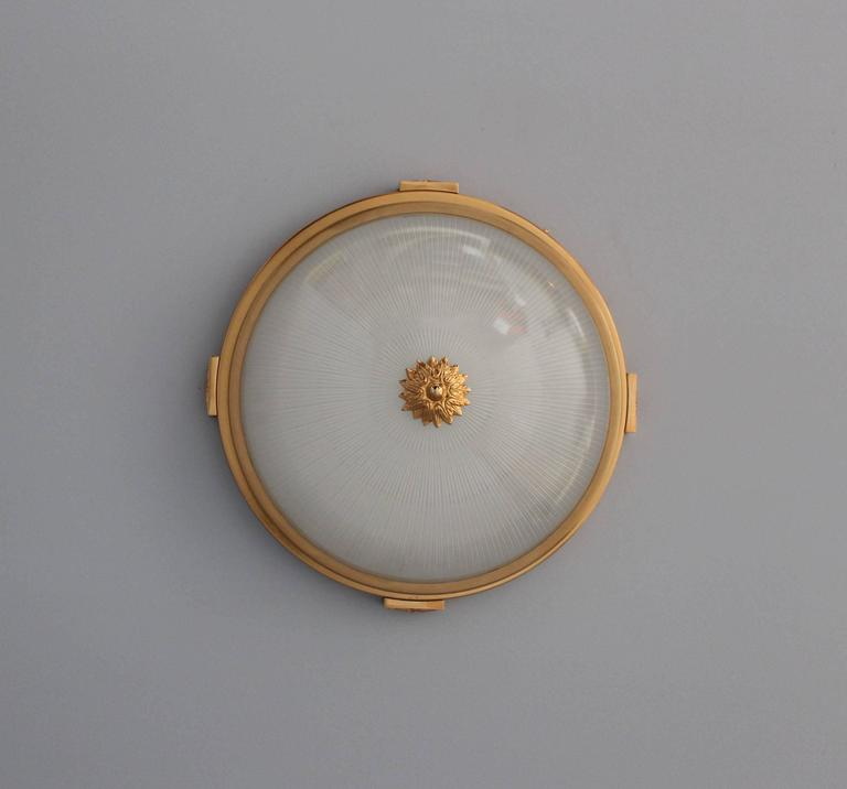 Neoclassical 6 Fine French Gilded Brass Flush Mounts with Fluted Glass Shades For Sale