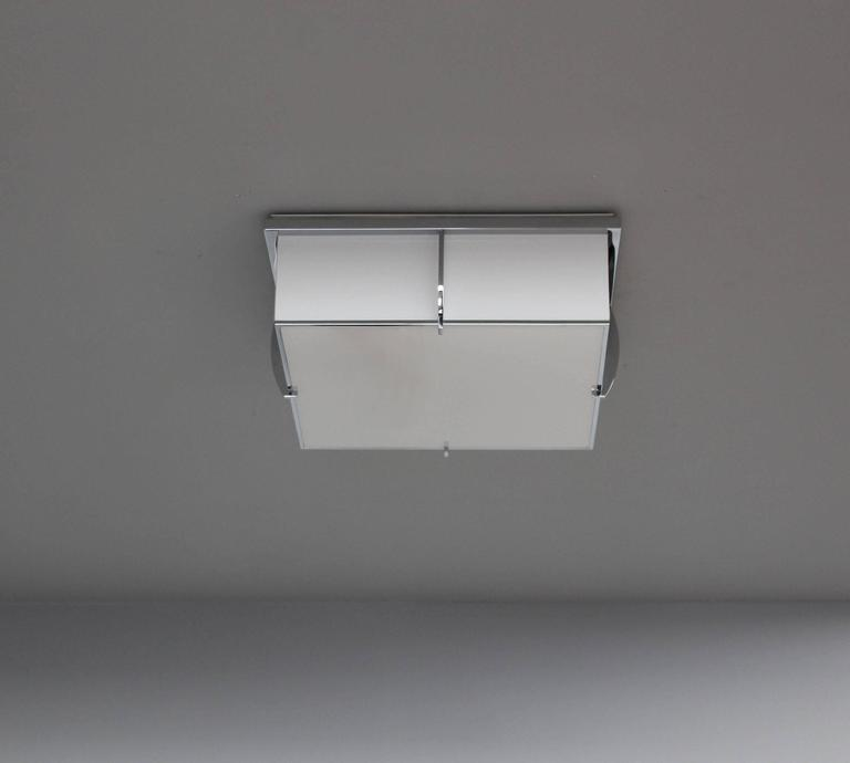 20th Century Fine French Art Deco Square Enameled Glass and Chrome Flush Mount by Perzel For Sale