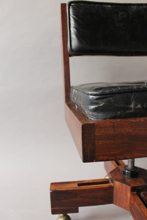 French 1960s Adjustable Rolling Swivel Desk Chair For Sale ...