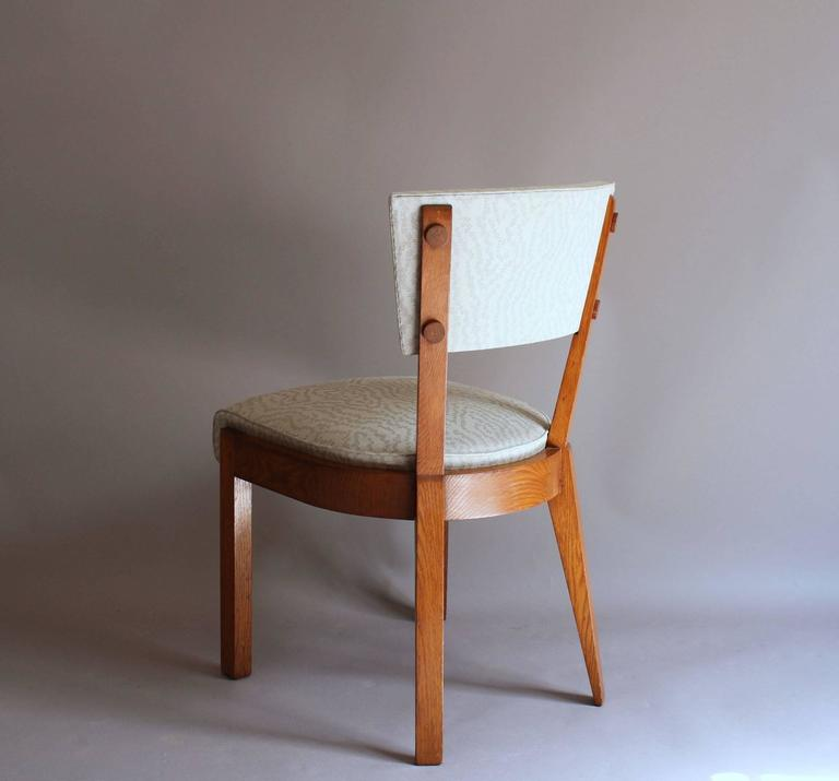 Set of Four Fine French Art Deco Oak Chairs by Charles Dudouyt For Sale 2