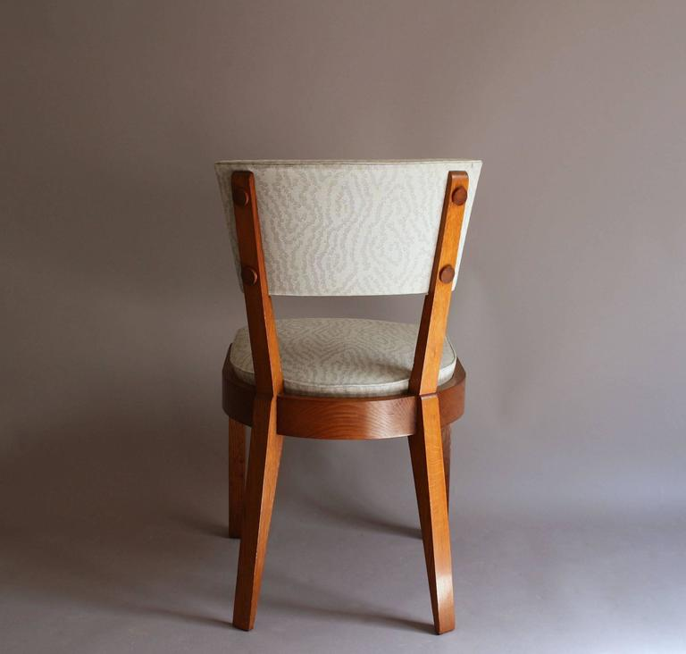 Set of Four Fine French Art Deco Oak Chairs by Charles Dudouyt For Sale 3