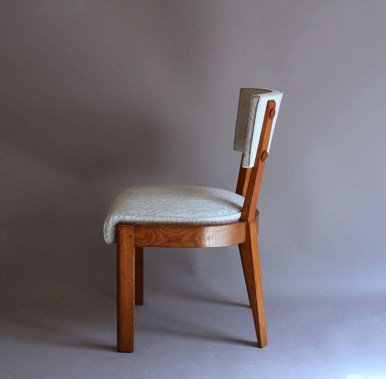 Set of Four Fine French Art Deco Oak Chairs by Charles Dudouyt For Sale 1