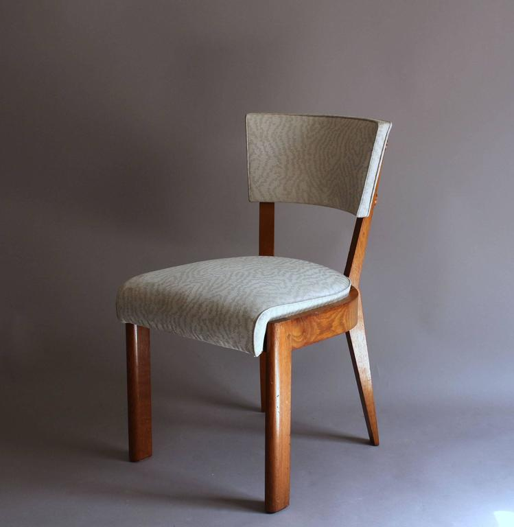 Mid-20th Century Set of Four Fine French Art Deco Oak Chairs by Charles Dudouyt For Sale