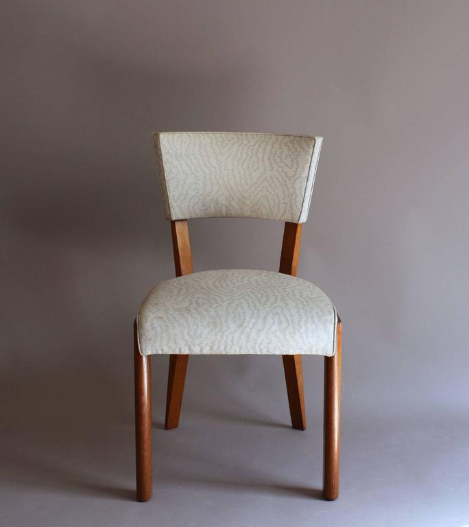 Set of Four Fine French Art Deco Oak Chairs by Charles Dudouyt In Good Condition For Sale In Long Island City, NY