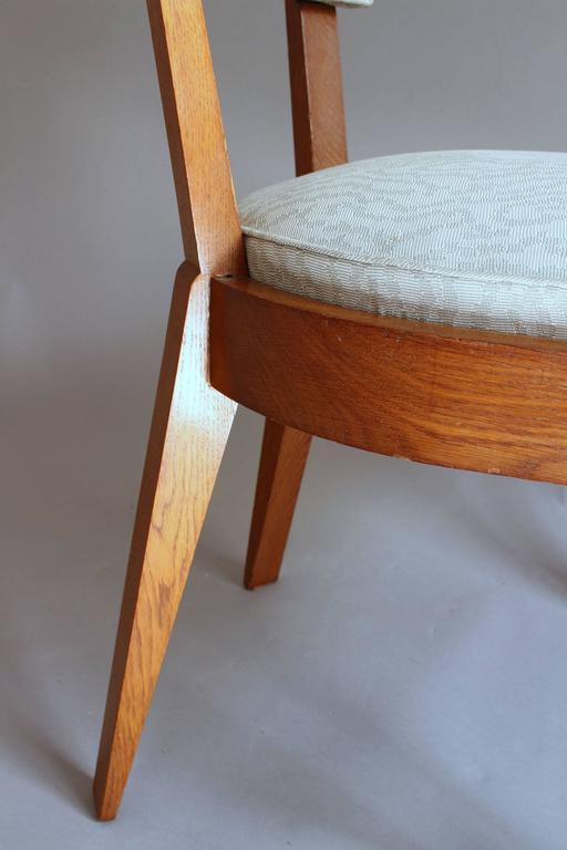 Set of Four Fine French Art Deco Oak Chairs by Charles Dudouyt For Sale 6