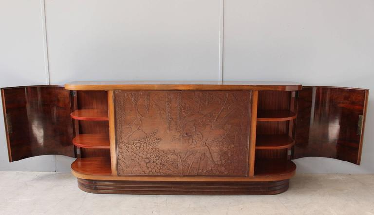 Fine French Art Deco Sideboard with Two Carved Center Doors by Maison Guerin 9