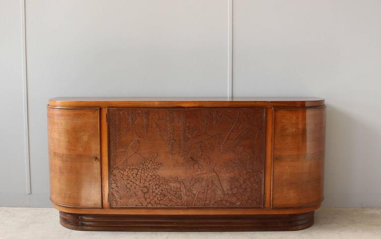 Fine French Art Deco Sideboard with Two Carved Center Doors by Maison Guerin 2