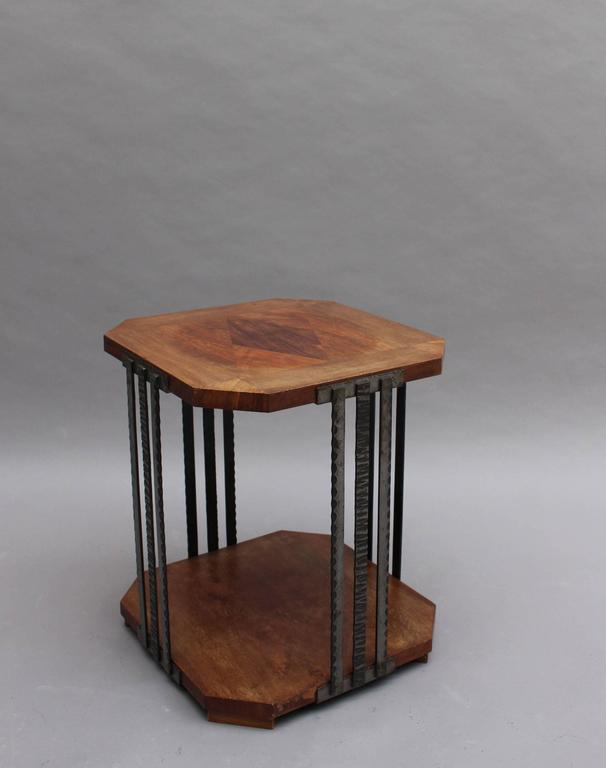 Mid-20th Century A Fine French Art Deco Wrought Iron and Walnut Gueridon For Sale