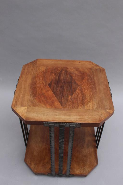 A Fine French Art Deco Wrought Iron and Walnut Gueridon For Sale 4
