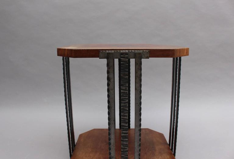 A Fine French Art Deco Wrought Iron and Walnut Gueridon For Sale 2