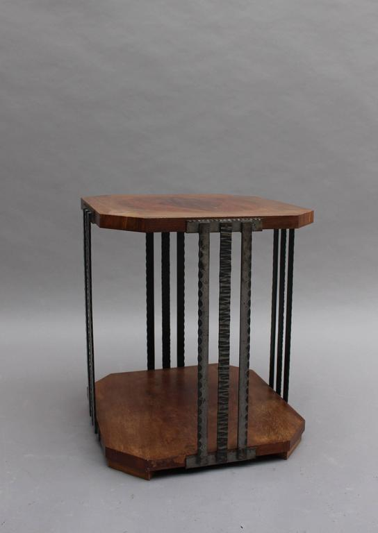 A Fine French Art Deco Wrought Iron and Walnut Gueridon For Sale 1