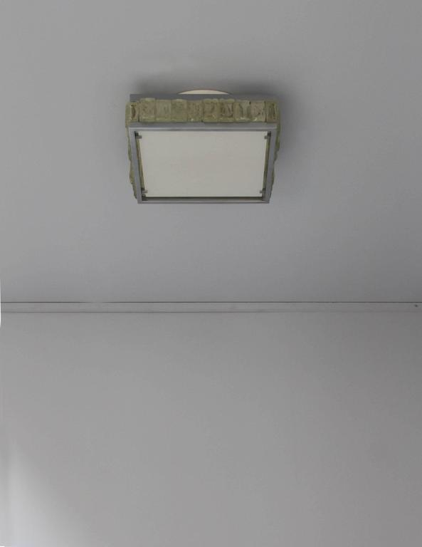 A Fine French Art Deco Square Glass and Chrome Flush Mount by Jean Perzel For Sale 2