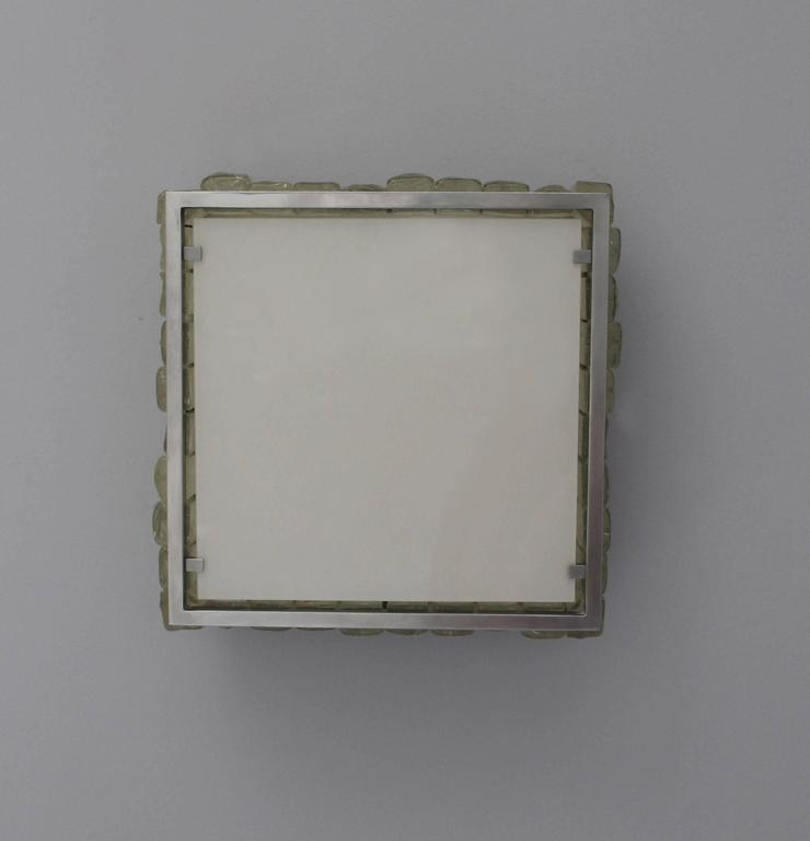 A Fine French Art Deco Square Glass and Chrome Flush Mount by Jean Perzel For Sale 3