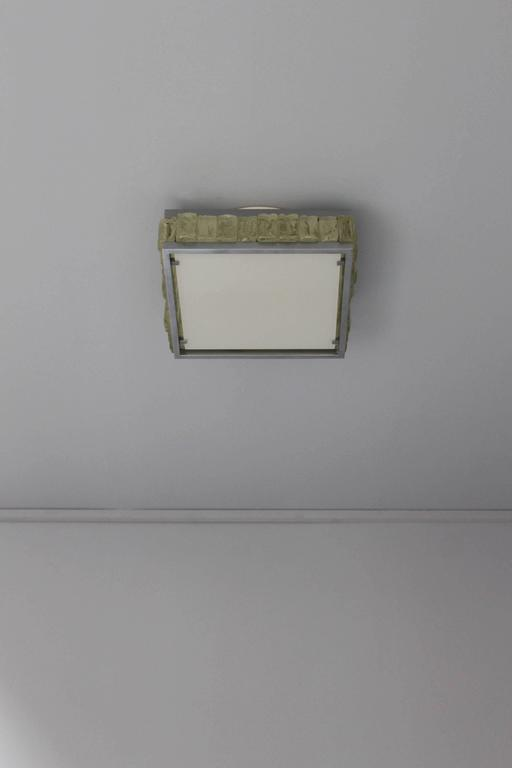 A Fine French Art Deco Square Glass and Chrome Flush Mount by Jean Perzel For Sale 5