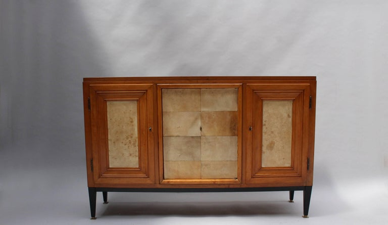Swiss Midcentury Pear Wood and Parchment Three Door Buffet 6