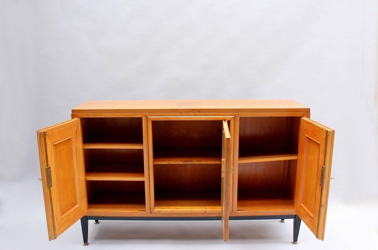 Swiss Midcentury Pear Wood and Parchment Three Door Buffet 7