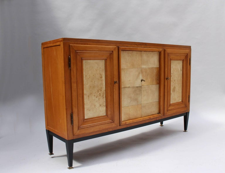 Swiss Midcentury Pear Wood and Parchment Three Door Buffet 2