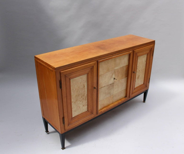Swiss Midcentury Pear Wood and Parchment Three Door Buffet 3