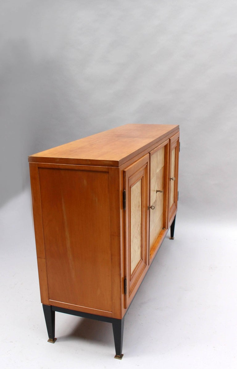 Swiss Midcentury Pear Wood and Parchment Three Door Buffet 4