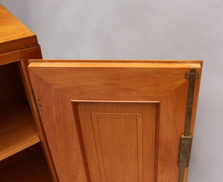 Swiss Midcentury Pear Wood and Parchment Three Door Buffet 9
