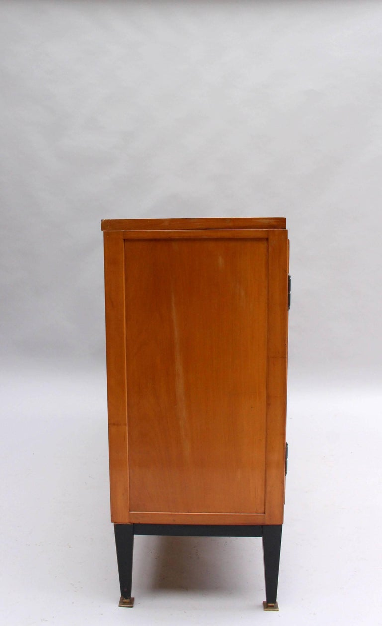 Swiss Midcentury Pear Wood and Parchment Three Door Buffet 5