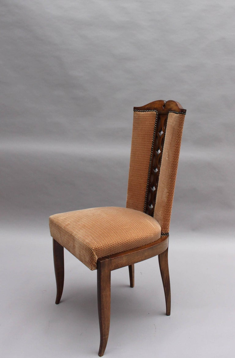 Set of Eight Fine French Art Deco Dining Chairs In Good Condition For Sale In Long Island City, NY