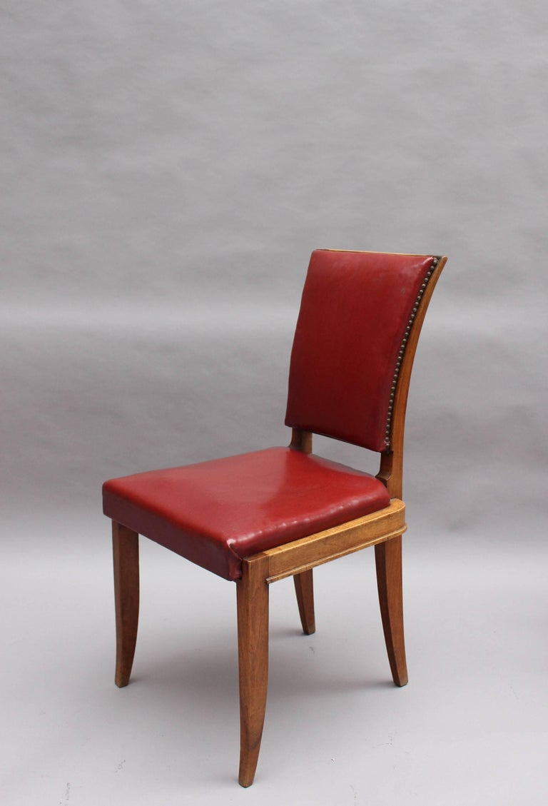 Set of Six Fine French Art Deco Walnut Dining Chairs by Maxime Old In Good Condition For Sale In Long Island City, NY
