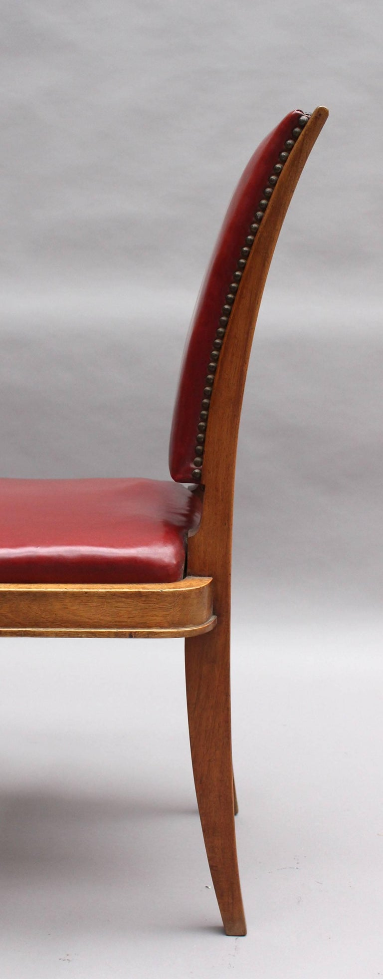 Set of Six Fine French Art Deco Walnut Dining Chairs by Maxime Old For Sale 4