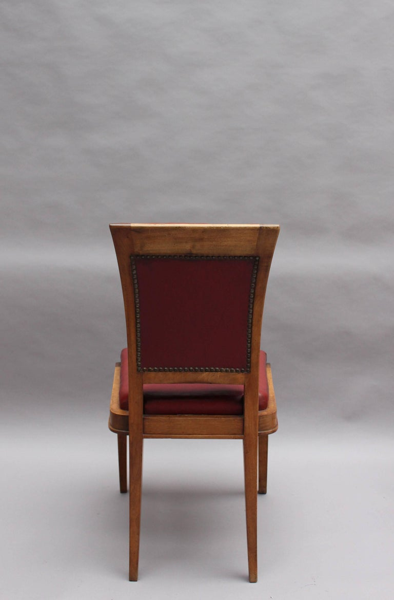 Set of Six Fine French Art Deco Walnut Dining Chairs by Maxime Old For Sale 2