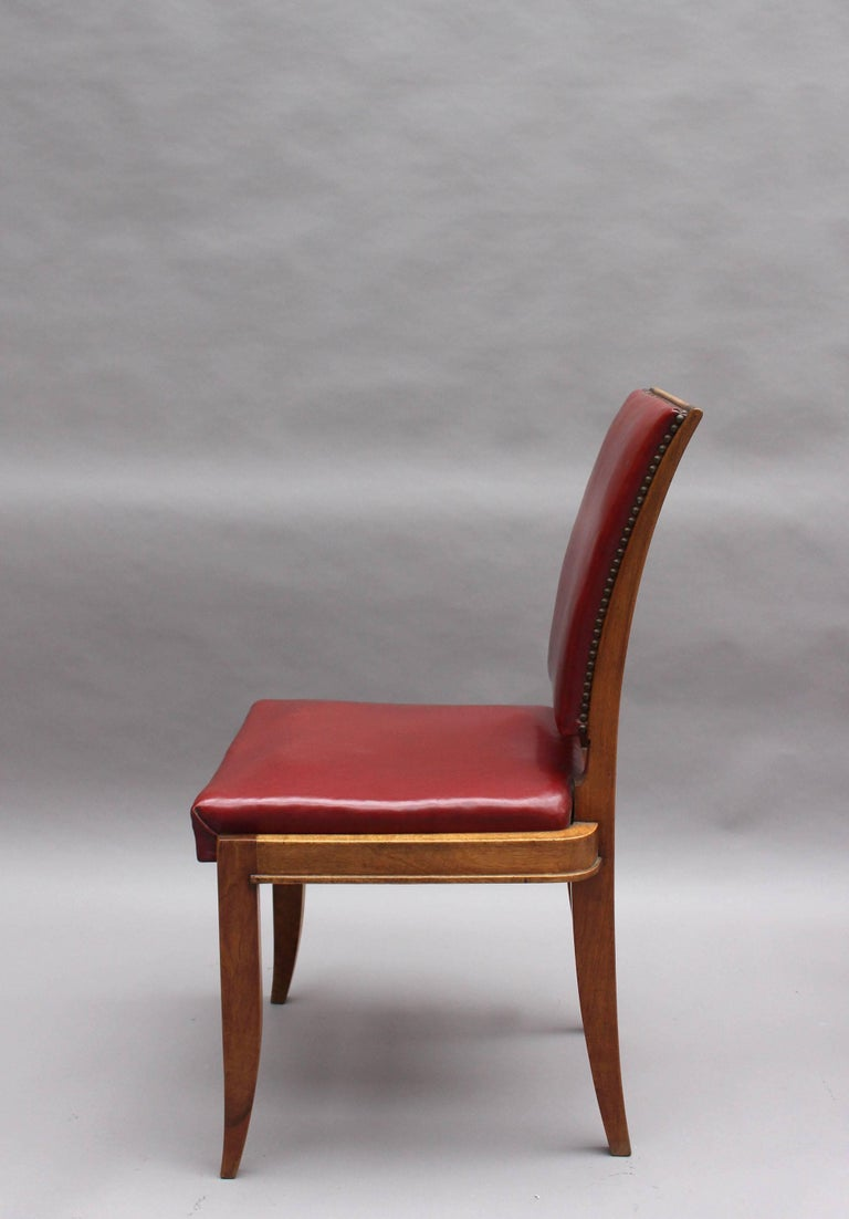 Mid-20th Century Set of Six Fine French Art Deco Walnut Dining Chairs by Maxime Old For Sale