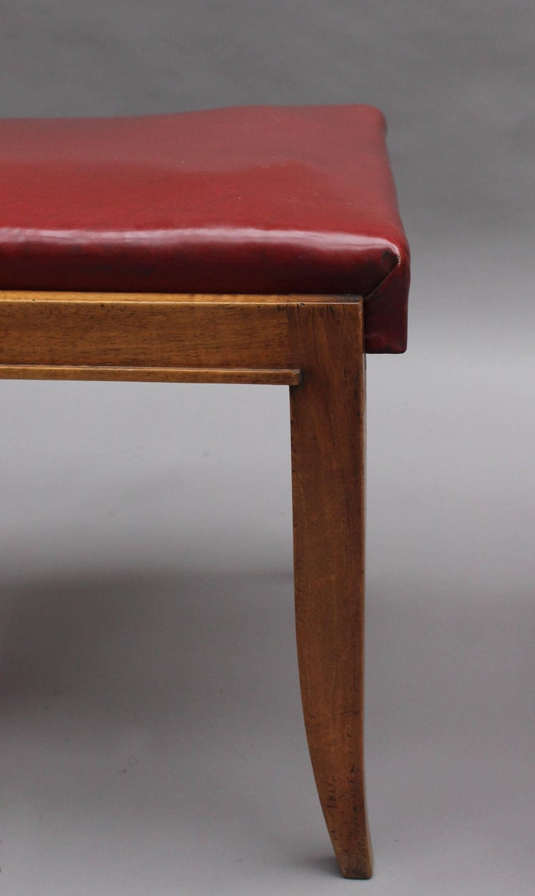 Set of Six Fine French Art Deco Walnut Dining Chairs by Maxime Old For Sale 5