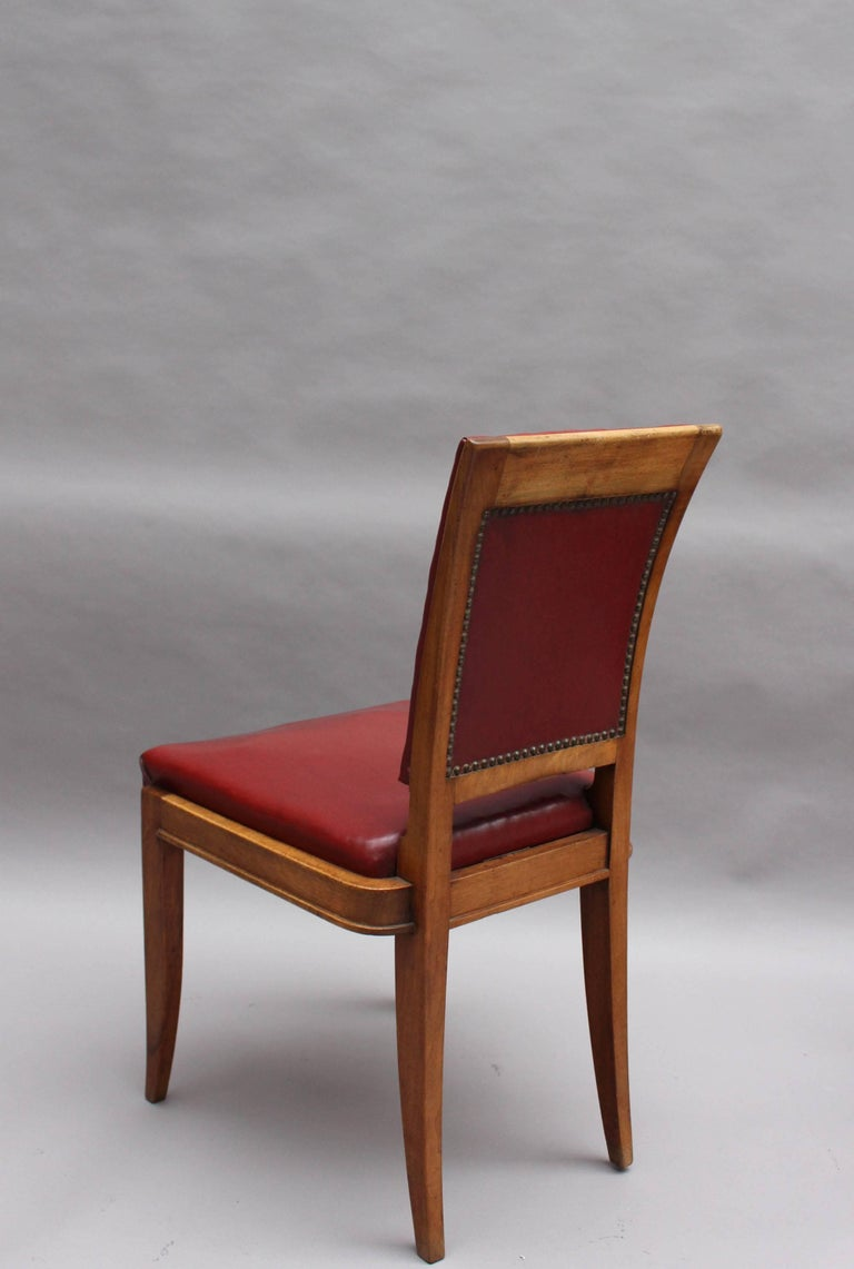 Set of Six Fine French Art Deco Walnut Dining Chairs by Maxime Old For Sale 1