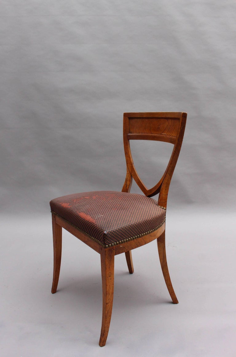 Set of Six French 1940s Neoclassical Dining Chairs In Fair Condition For Sale In Long Island City, NY