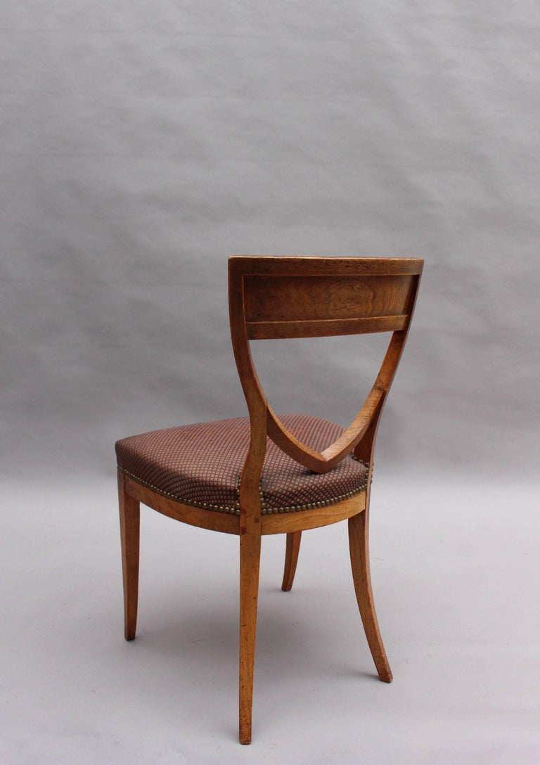 Elm Set of Six Fine French 1940's Neoclassical Dining Chairs For Sale