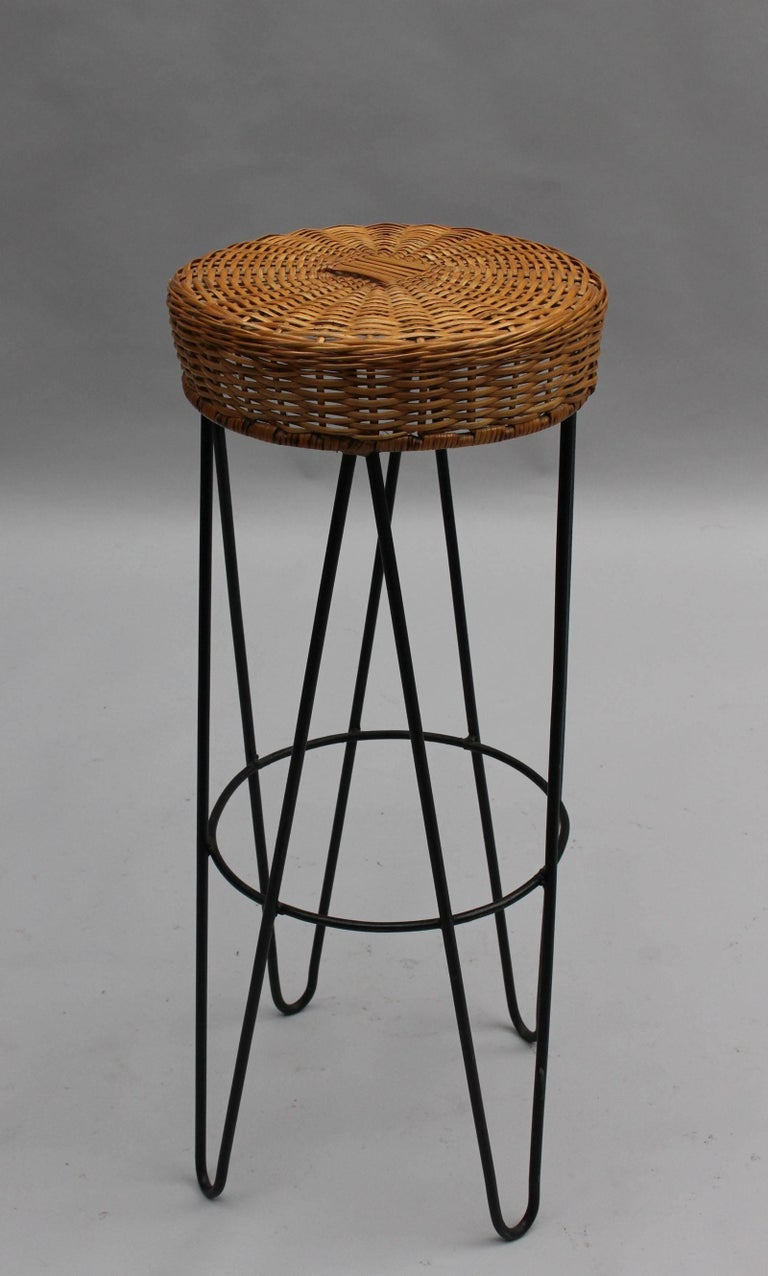 Three French Black Metal And Rattan Bar Stools 1950s For