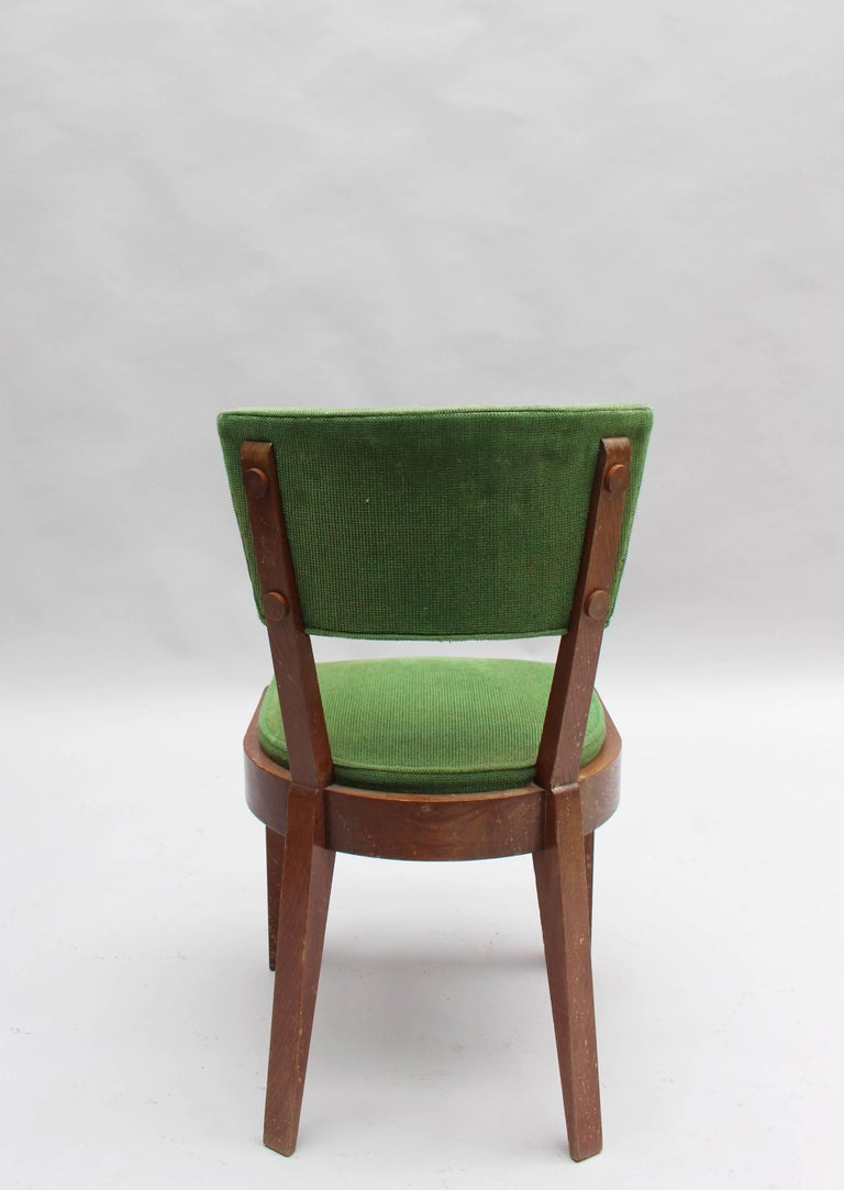 Set of Six Fine French Art Deco Oak Chairs by Charles Dudouyt 6