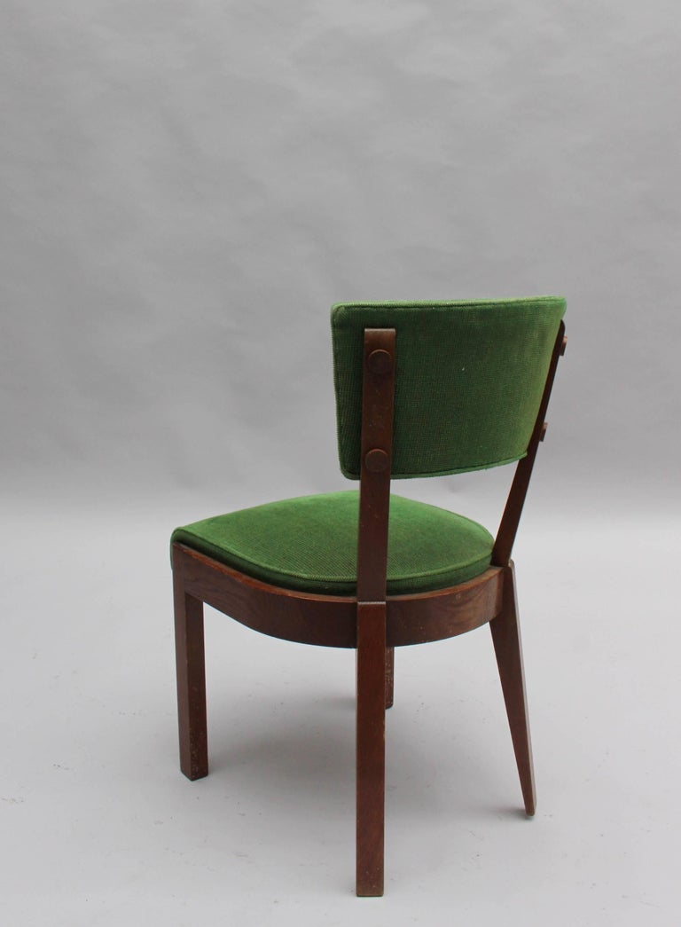 Set of Six Fine French Art Deco Oak Chairs by Charles Dudouyt 5