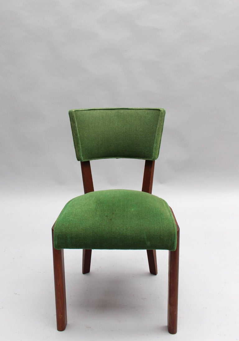 Set of Six Fine French Art Deco Oak Chairs by Charles Dudouyt 2