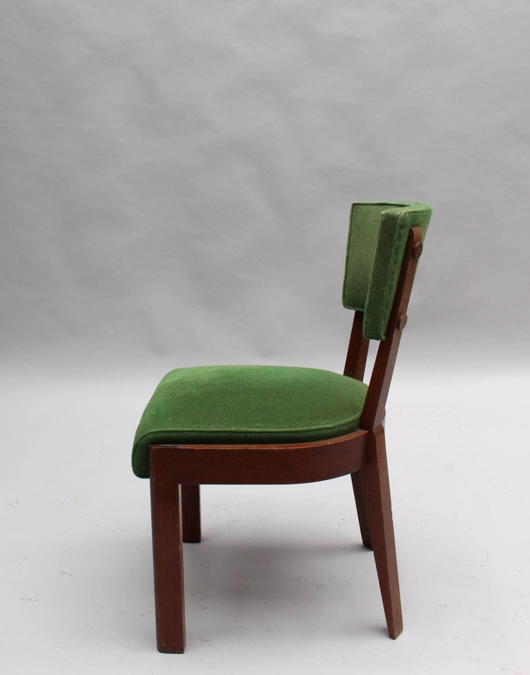 Set of Six Fine French Art Deco Oak Chairs by Charles Dudouyt 4