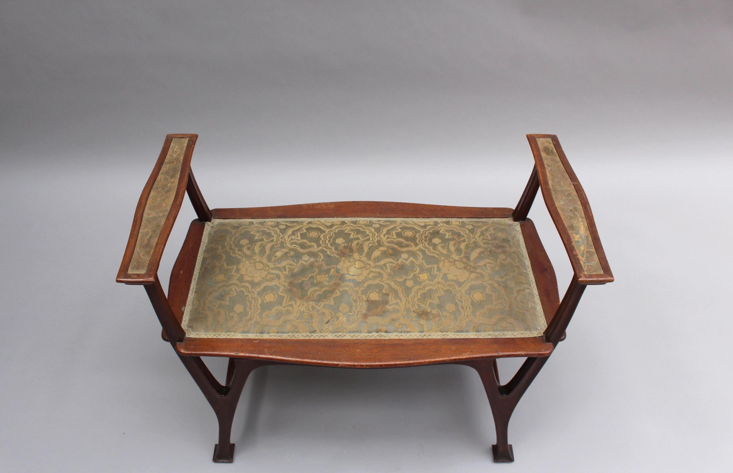Fine French Art Nouveau Upholstered Mahogany Bench For Sale 2