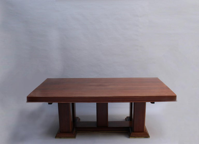 Fine French Art Deco Palisander Extendable Dining Table In Good Condition For Sale In Long Island City, NY