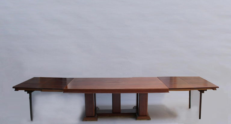 Mid-20th Century Fine French Art Deco Palisander Extendable Dining Table For Sale