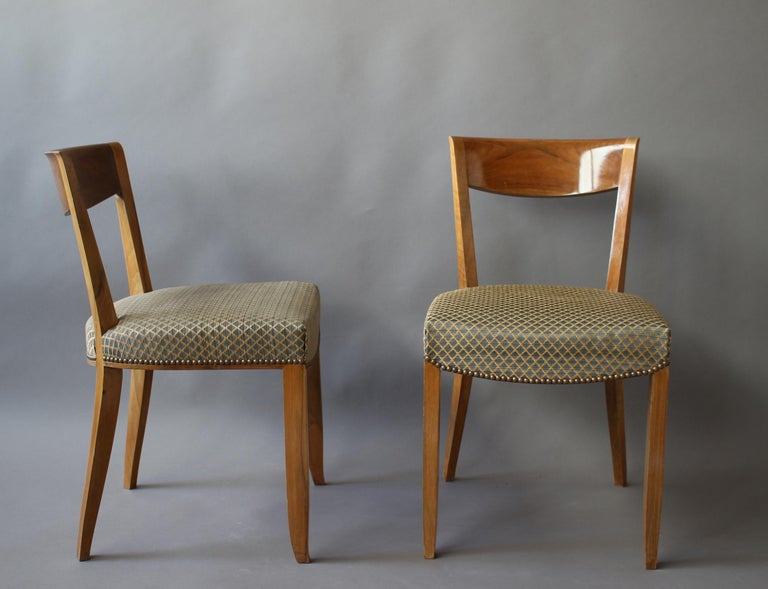 Set of 12 Fine French Art Deco Walnut Dining Chairs by Jules Leleu In Good Condition For Sale In Long Island City, NY