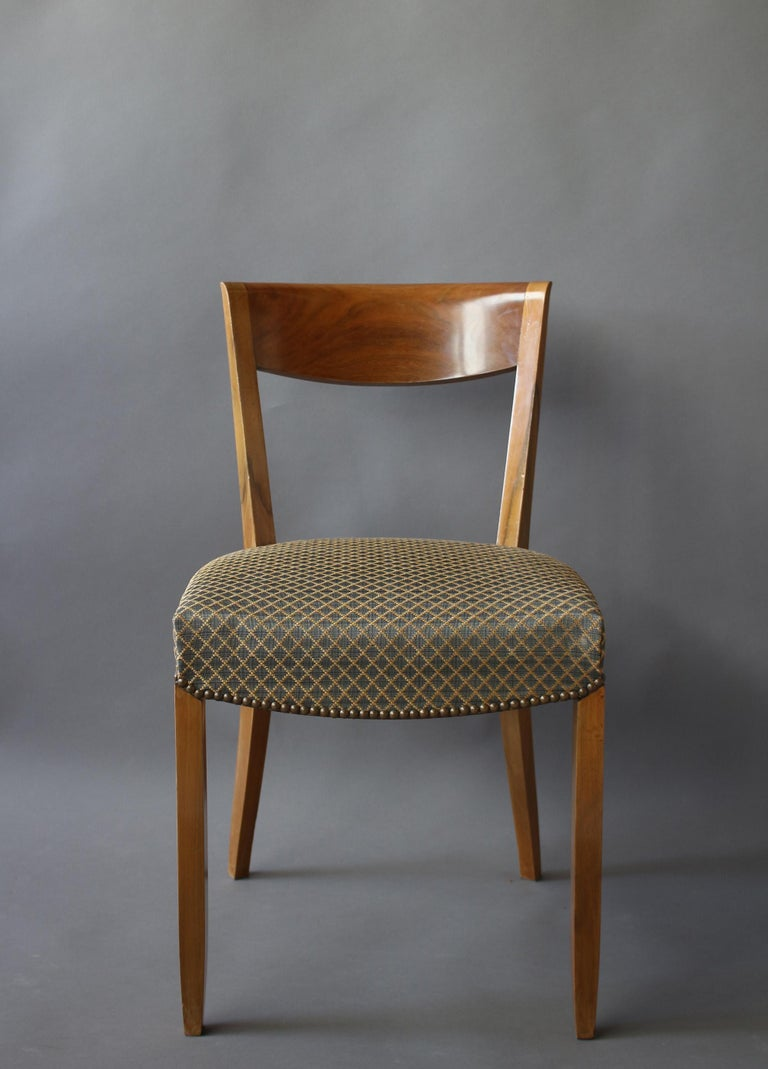 Mid-20th Century Set of 12 Fine French Art Deco Walnut Dining Chairs by Jules Leleu For Sale