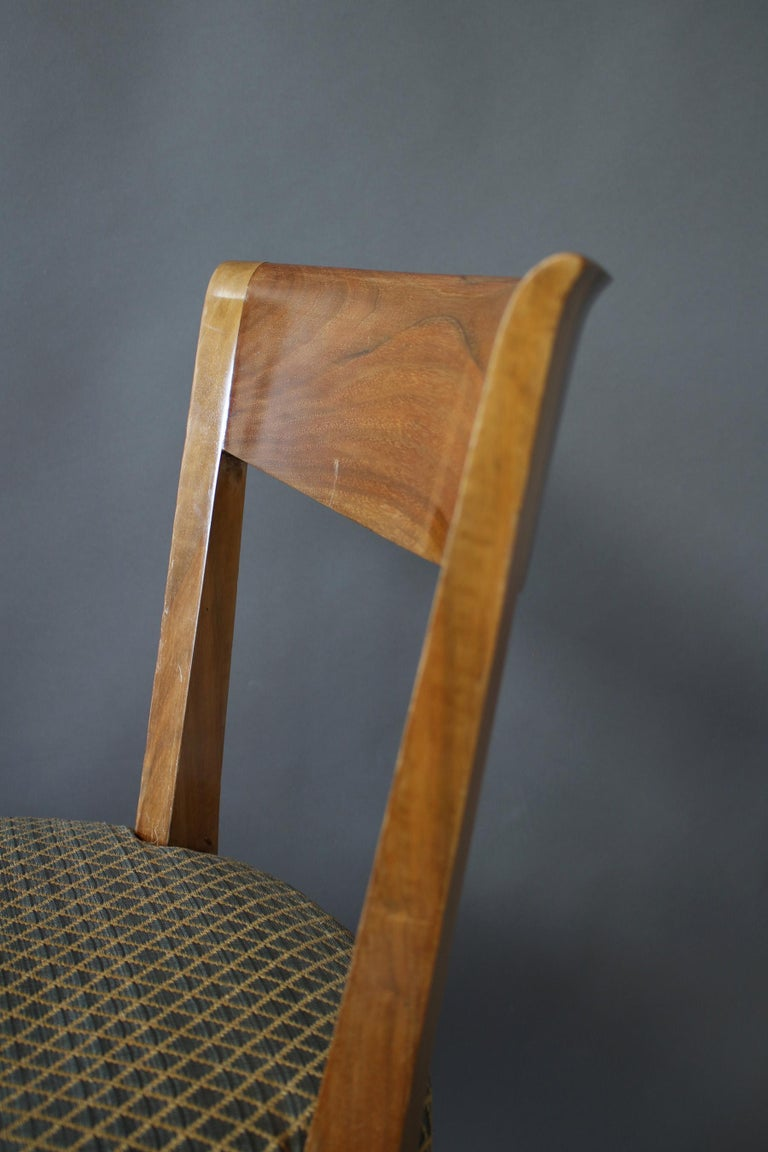 Set of 12 Fine French Art Deco Walnut Dining Chairs by Jules Leleu For Sale 9
