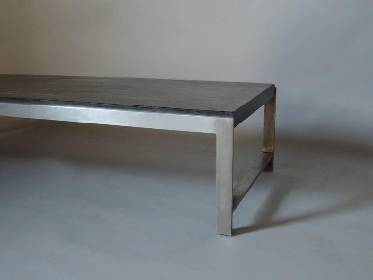 A Large Fine French 1970s Metal and Slate Coffee Table For Sale 2